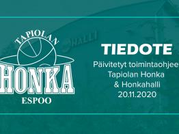 Päivitetyt ohjeet Tapiolan Hongan toiminnassa ja Honkahallilla alkaen tänään perjantaina 20.11.2020