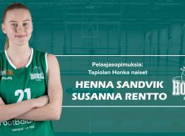 Naisten edustusjoukkueeseen kaksi uutta pelaajasopimusta – Sandvik ja Rentto