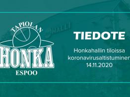 Honkahallin tiloissa Tapiolan urheilupuistossa koronavirusaltistus
